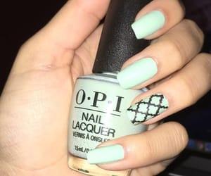 green nails, nail, and opi image