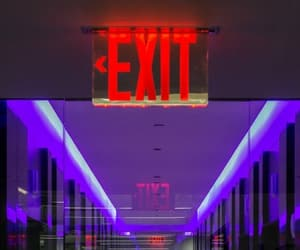 blue, corridor, and exit image
