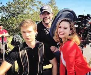 lily james, ansel elgort, and baby driver image