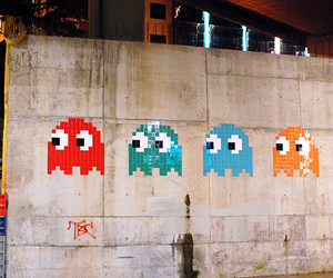 art, space invaders, and bilbao image