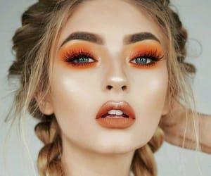 makeup, girl, and orange image