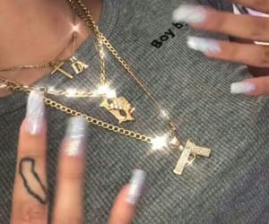 gold, nails, and necklace image