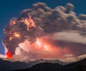 nature, sky, and volcano image