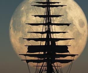 moon, ship, and boat image