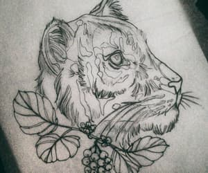 flower tattoo, realism, and tiger tattoo image