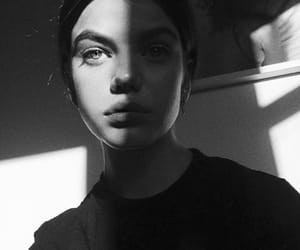 model, eyes, and black and white image