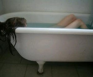 girl, bath, and water image