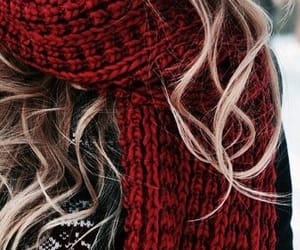 cold, red scarf, and girl image