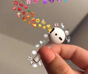 wallpaper, emojis, and airpods image