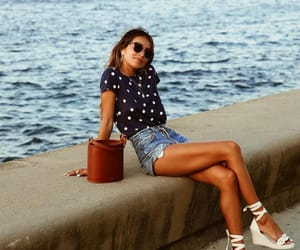 blogger, sea, and short jeans image