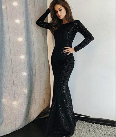 Vunique Prom Dress Long Sleeve Evening Dress Black Prom