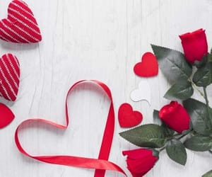 flowers, heart, and ribbon image