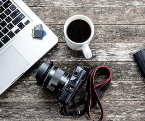 camera, photographer, and coffee image