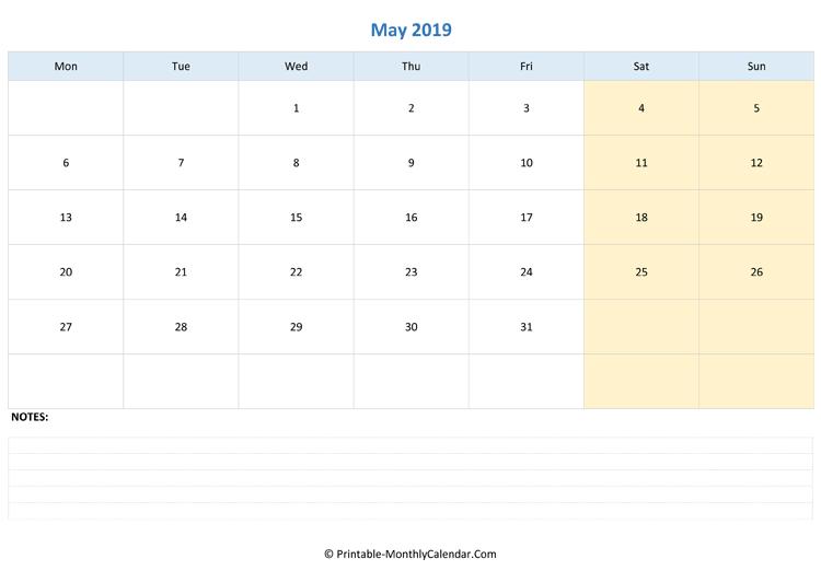 Blank April 2019 Calendar Printable Templates Download