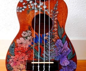 art, flowers, and guitar image