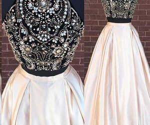 two pieces prom dress, high neck prom dress, and prom dress long image