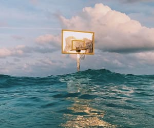 Basketball, ocean, and sky image
