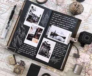 journal, map, and black image