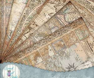 Collage, greeting cards, and vintage maps image