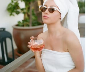 ashley tisdale, drink, and towel image