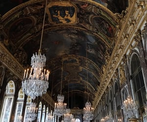chandelier, france, and gold image