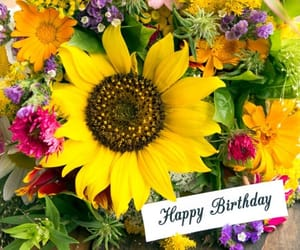 birthday, bouquet, and flowers image