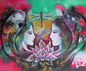 dragonfly, koi fish, and lotus pond image
