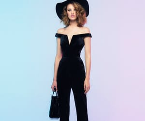 black, hat, and jumpsuit image