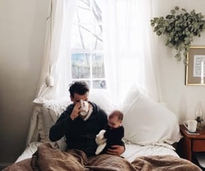 baby, bed, and family image