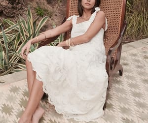 bridal, white lace dress, and broderie image