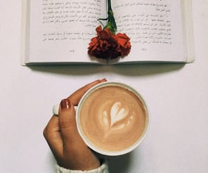 books, flower, and coffee image