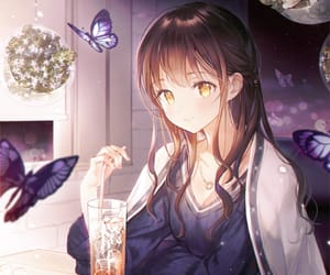 anime, beautiful, and butterfly image