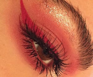 girl, makeup, and red image