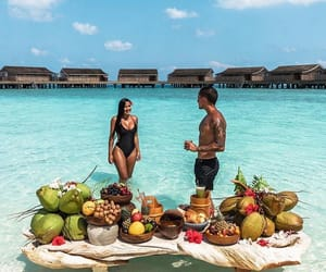 couple, beach, and food image