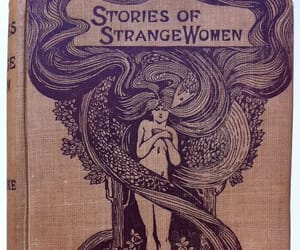 book, woman, and strange image