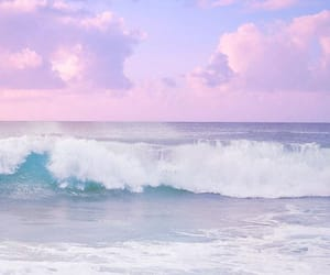 sea, pink, and ocean image