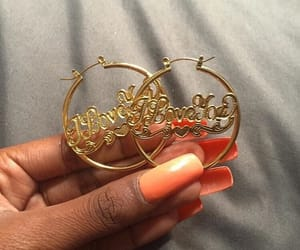 earrings, gold, and hoops image