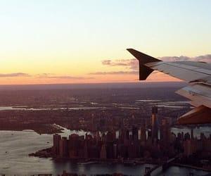 plane, city, and new york image