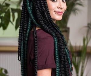 bangs, braids, and green braids image