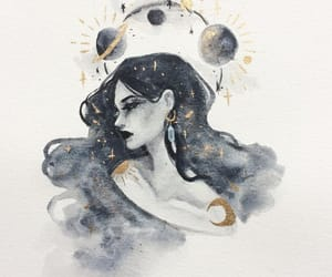 art, girl, and moon image