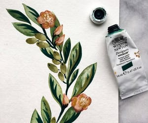 painting, drawing, and flowers image