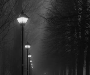 black and white photo, dark place, and mysterious place image
