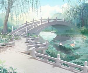 art, background, and bridge image