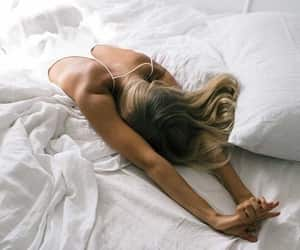bed, morning, and girl image