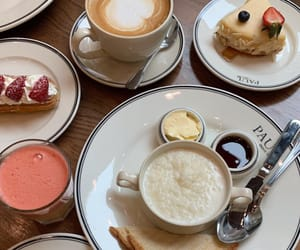 coffee, latte, and pastry image