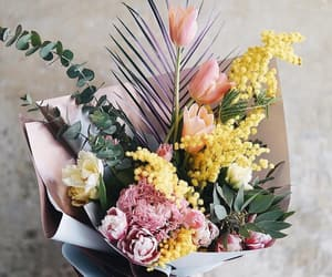 bouquet, flowers, and mimosa image