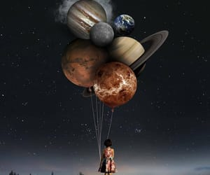 girl, planet, and planets image