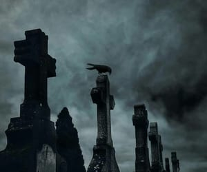 cemetery, crow, and gothic image