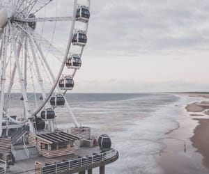 beach, cloudy, and Ferris Wheels image