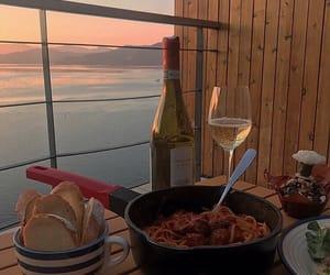 food, sunset, and wine image